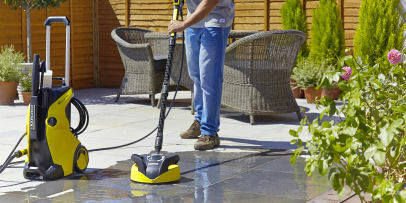 patio cleaning with a pressure washer