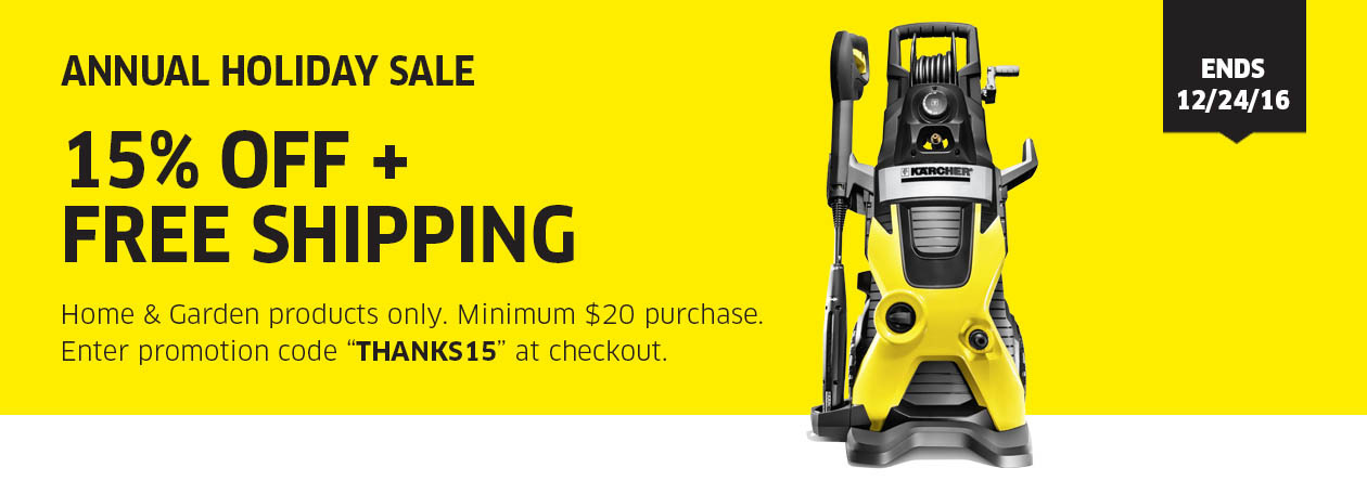 Karcher Annual Holiday Sale: 15% Off Home and Garden Products