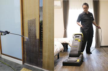 汚れの蓄積した外壁やドアも素早く衛生的に洗浄